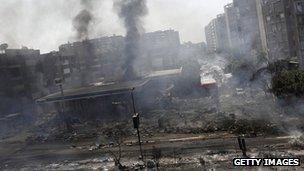 Damaged petrol station near Rabaa al-Adawiya mosque in Cairo on Wednesday
