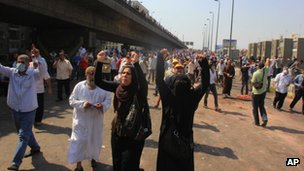 Pro-Morsi supporters take to the streets of Cairo, Egypt on 14 Egypt 2013