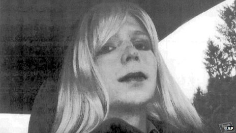 Manning dressed as a woman in undated photo provided by the US Army