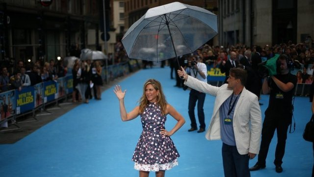 Aniston on the blue carpet