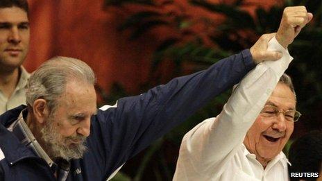 Fidel Castro (left) and Raul Castro, 19 April 2011