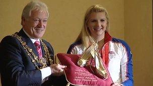 Tony Egginton and Olympic swimmer Rebecca Adlington