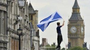Scottish saltire flag with Big Ben