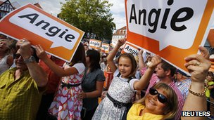Merkel supporters, 14 Aug 13