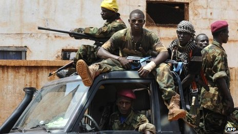 Seleka fighters in the capital Bangui. March 2013