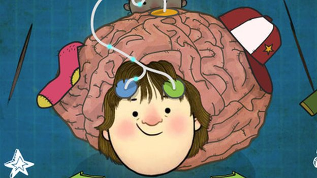 Cartoon of a boy and a brain