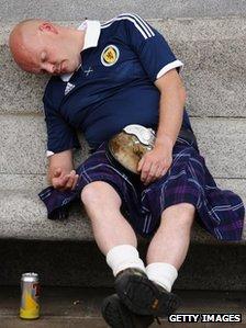 Scotland fans gather in Trafalgar Square ahead of their friendly match against England