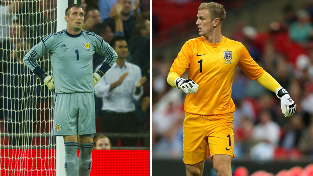 Goalkeepers Allan McGregor (left) and Joe Hart