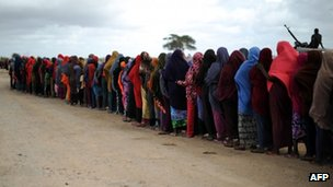 Women lining up for food at a displacement camp in Somalia - August 2013