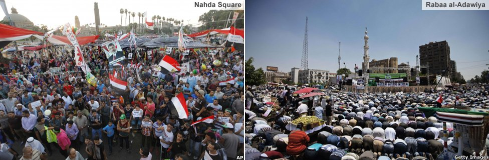 Nahda and Rabaa al-Adawiya camps before they were broken up