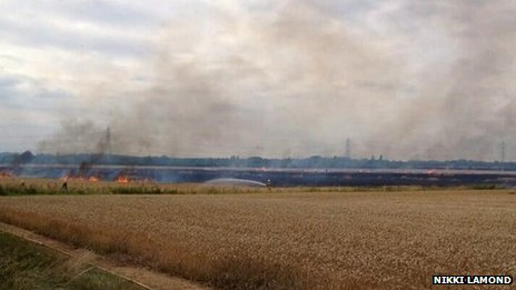 Crops on fire in Ailsworth, Cambridgeshire