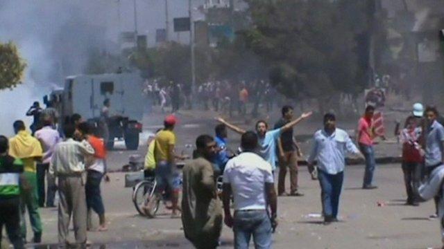 Protesters in Ismailia
