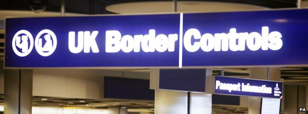 UK border controls at an airport