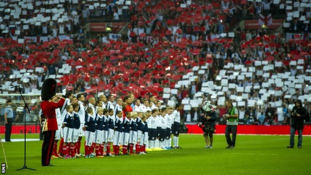 England and Scotland players line up at Wembley