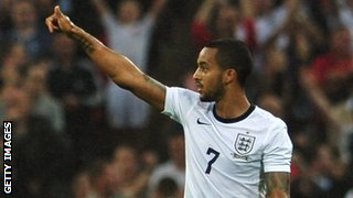 Theo Walcott scored England's first equaliser at Wembley