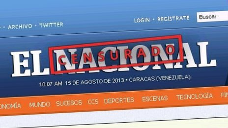 "Screengrab of El Nacional's interent masthead, with a ""censored"" sign stamped over"