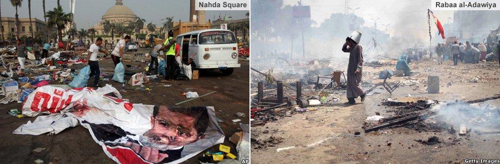 Nahda and Rabaa al-Adawiya camps after the clearance