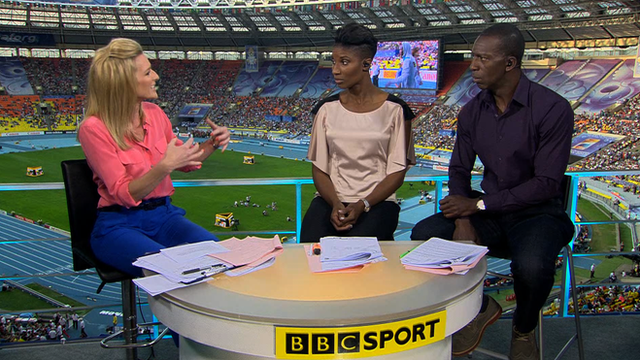 BBC Sport's Gabby Logan, Denise Lewis and Michael Johnson (L-R)