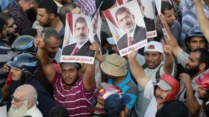 Morsi supporters at the Rabaa al-Adawiya protest camp