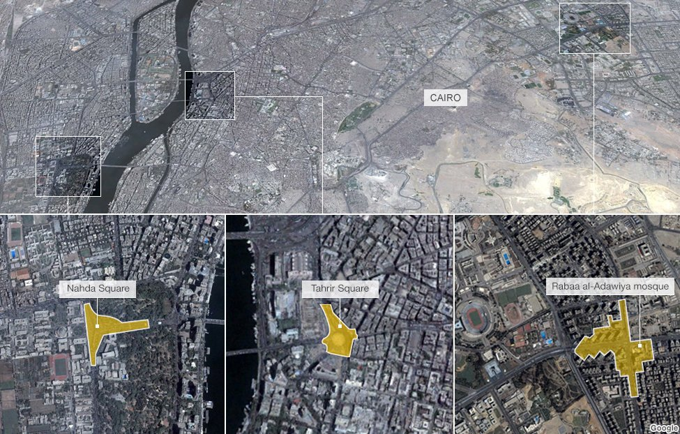 Size and location of the three Cairo protest camps