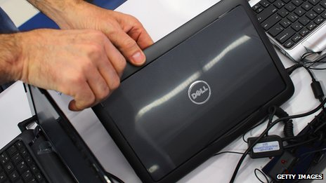 Dell computer and hands