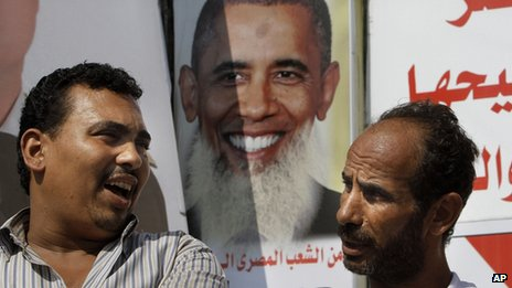 Poster mocking Barack Obama in Cairo