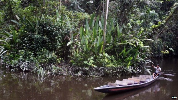 A canoe at the Sani River, into the Yasuni Ecuadorean National Park, Ecuador