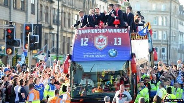 Cardiff City FC on the open-top bus parade through the centre of Cardiff