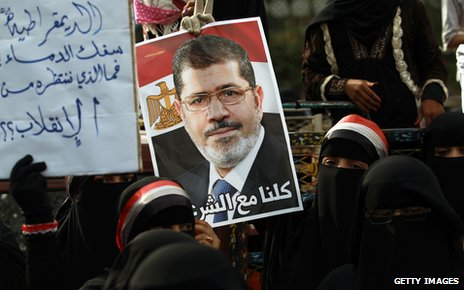 Protesters in gather in support of ousted Egyptian president Mohamed Morshi