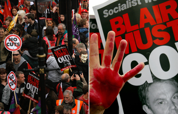 "Left: Protesters against coalition government cuts. Right: A protester's hand against a poster reading ""Blair must go!"""