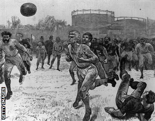 A depiction of an international football match, 1872