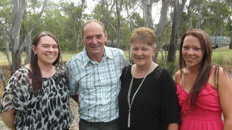 Allan Jones with his wife Denece and their daughters Kelly and Danni