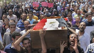 Morsi supporters carry coffin