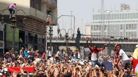 Egyptian Muslim Brotherhood supporters gather in Ramses Square in Cairo on 16 August, 2013.