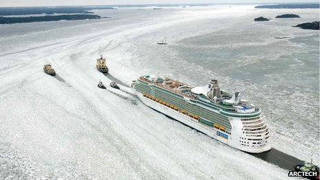 A cruise ship needs five supporting vessels to move through icy water