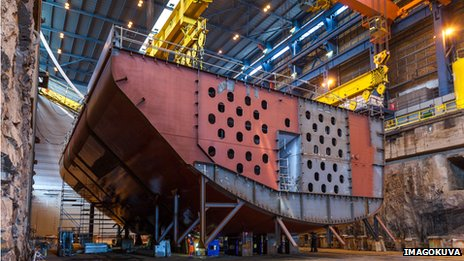 The hull of the Arctech icebreaker NB 508 under construction
