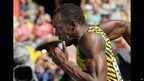 Athlete Usain Bolt running in Moscow, Russia - Friday 16 August 2013