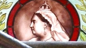 Queen Victoria in the stained glass window