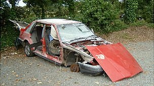 Abandoned and vandalised car at Footes Lane in Guernsey in 2008