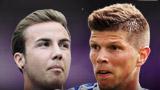 Bayern Munich's Mario Gotze and Schalke's Klaas-Jan Huntelaar