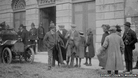 People outside Shire Hall during the East Dorset election petition in about 1910