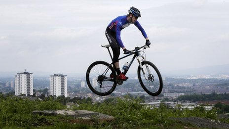 Glasgow 2014 Team Scotland hopeful mountain biker Rab Wardell at the official opening of the Cathkin Braes Mountain Bike Trails