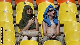 Spectators at the Luzhniki Stadium