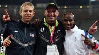 Mo Farah with training partner Galen Rupp (left) and coach Alberto Salazar