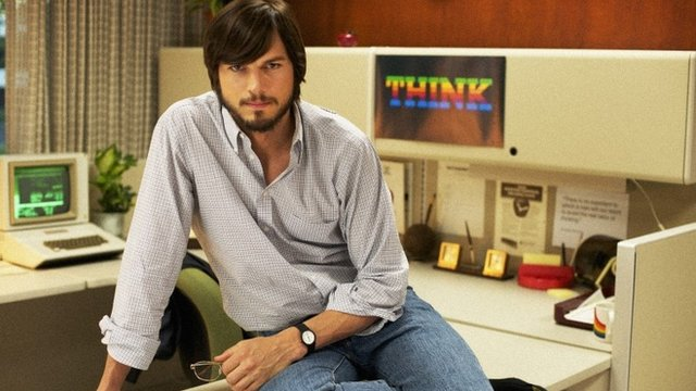 """This undated publicity photo released by the Sundance Institute shows Ashton Kutcher as Steve Jobs in the Open Roads Films movie, """"Jobs,"""" directed by Joshua Michael Stern"""