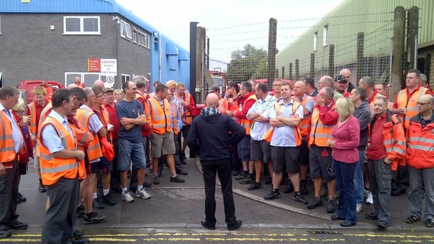 Striking postal workers in Weston-super-Mare