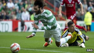 Georgios Samaras was felled by Jamie Langfield in the box
