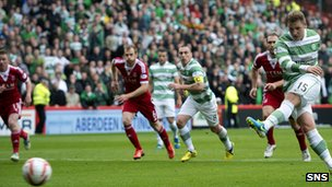 Kris Commons opens the scoring at Pittodrie