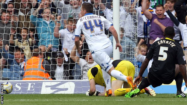 Ross McCormack scores for Leeds against Sheffield Wednesday