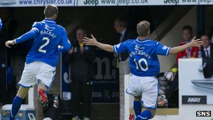 David Wotherspoon celebrates scoring from a free-kick